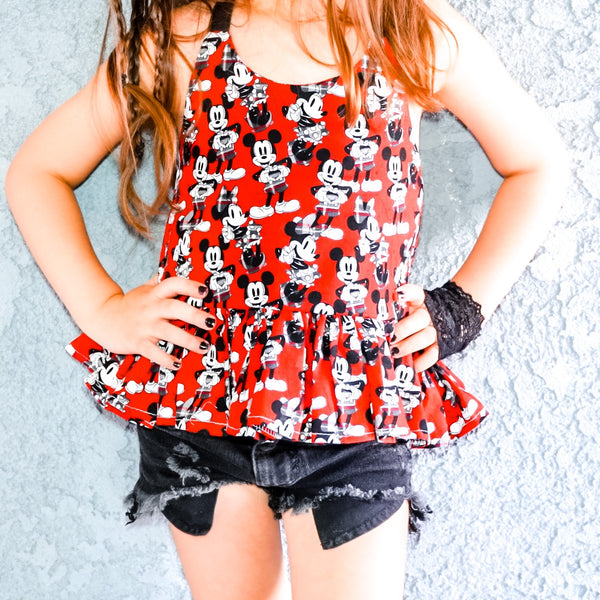 Red Plaid Minnie & Mickey Ruffled Halter Top