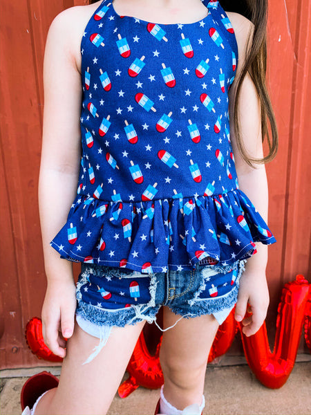 American Popsicle Ruffled Halter Top