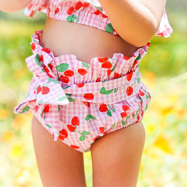 Pink & Red Gingham Cherries High Waisted Bloomers