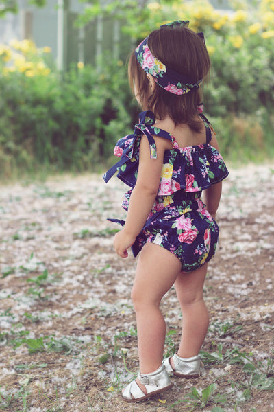 Dark Blue Dahlia High Waisted Bloomers