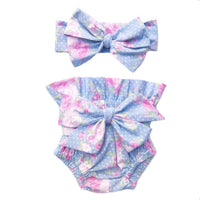 Baby Blue Floral Tiny Dot High Waisted Bloomers