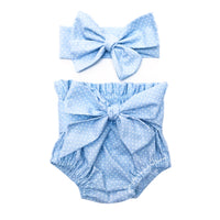 Baby Blue Tiny Dot High Waisted Bloomers