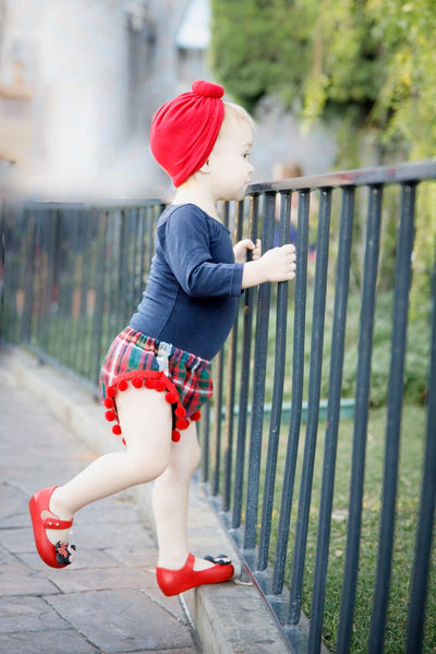 Christmas Plaid RED Pom Pom Shorties