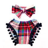 Christmas Plaid BLACK Pom Pom Shorties