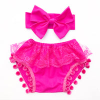 Fuchsia Lace Pom Pom Shorties