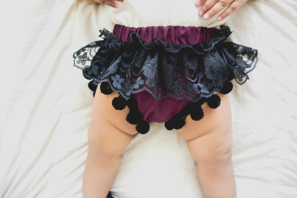 Plum & BLACK Lace Pom Pom Shorties
