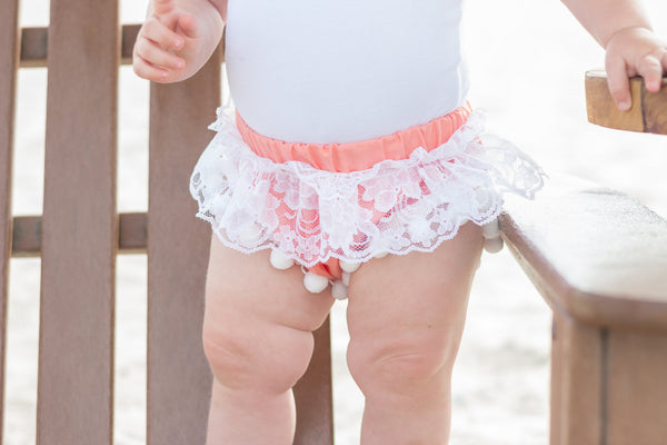 Coral & WHITE Lace Pom Pom Shorties