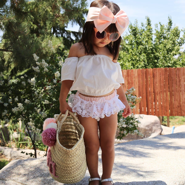Light Blush & WHITE Lace Pom Pom Shorties