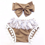 Brown Sugar & White Lace Pom Pom Shorties