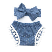 Denim Polka Dot Pom Pom Shorties