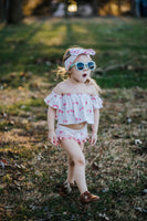 White Floral Bunny BLUSH Pom Pom Shorties