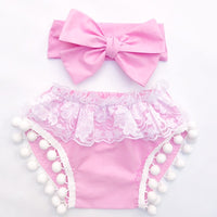 Ballerina Pink & White Lace Pom Pom Shorties