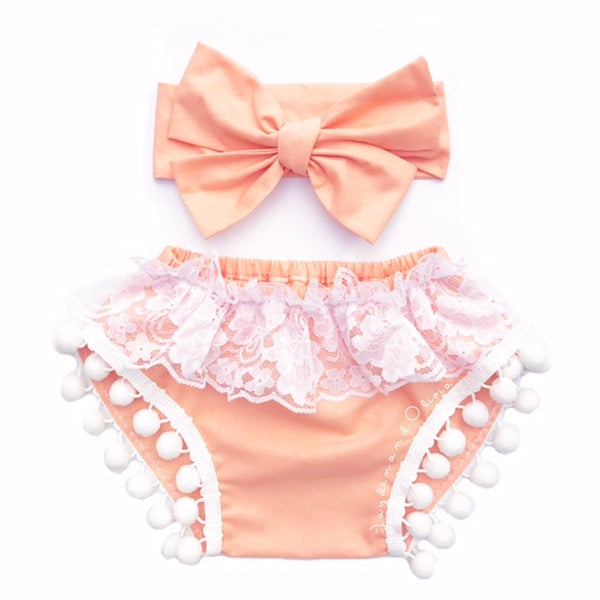 Peach Cobbler & White Lace Pom Pom Shorties
