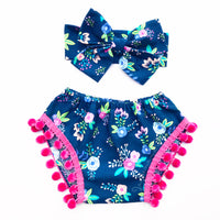 Navy & Hot Pink Floral PINK Pom Pom Shorties
