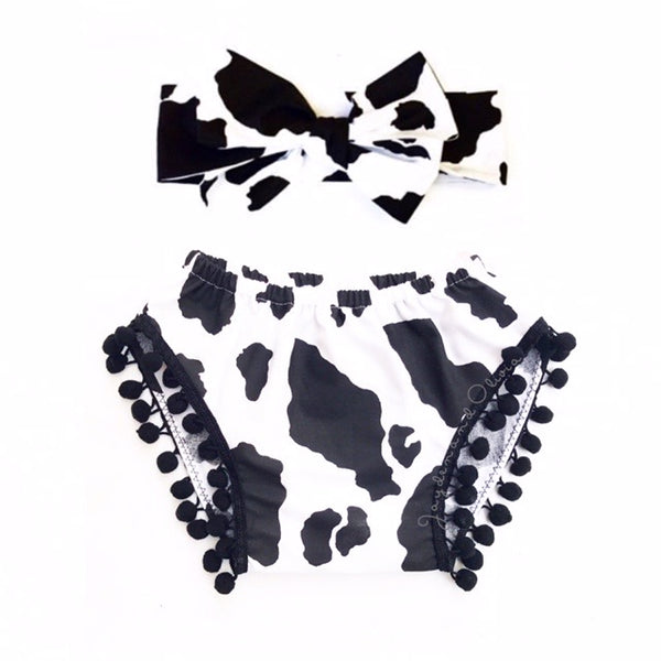 Cow Print Pom Pom Shorties