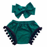 Wintergreen & Black Pom Pom Shorties