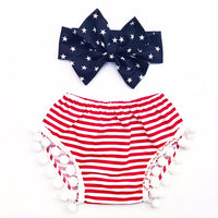 Red & White Stripe Pom Pom Shorties