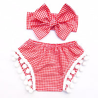 Red & White Gingham Pom Pom Shorties