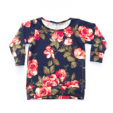Coral & Navy Floral Sweater