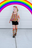 Rainbow Stripe Ruffled Halter Top