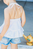 Arctic White Ruffled Halter Top