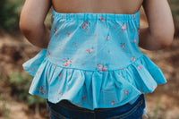 Tiny Rose Bud Baby Blue Ruffled Halter Top