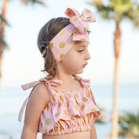 Blush & Gold Lrg Dot Baby Doll Top