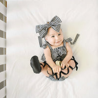 Tiny Black Houndstooth Baby Doll Top