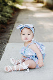 Baby Blue Floral Tiny Dot Baby Doll Top