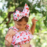 Pink & Red Gingham Cherries Baby Doll Top