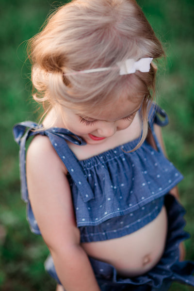 Denim Polka Dot Baby Doll Top