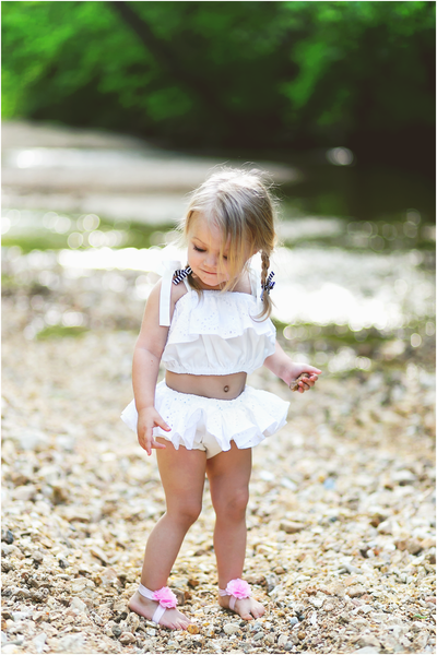 White Eyelet Baby Doll Top
