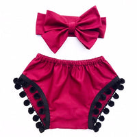 Cranberry & Black Pom Pom Shorties