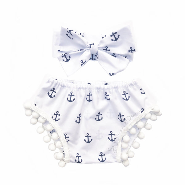 White & Navy Anchors Pom Pom Shorties
