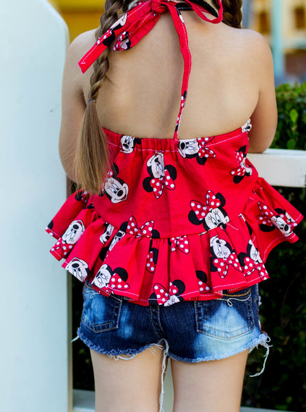 Classic Red Minnie Ruffled Halter Top