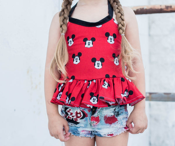 Red Mickey Heads Ruffled Halter Top