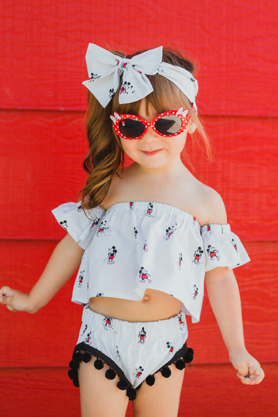 White Tiny Mickey Flutter Sleeve Crop Top