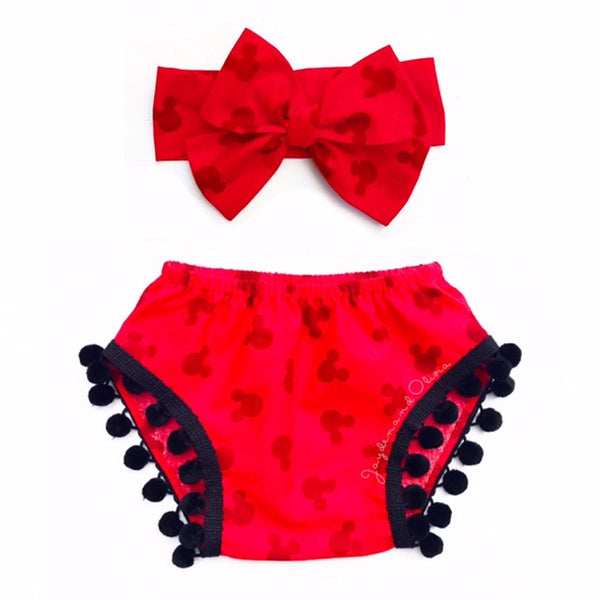 Red Head Minnie & Black Pom Pom Shorties