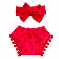 Red Head Minnie Pom Pom Shorties