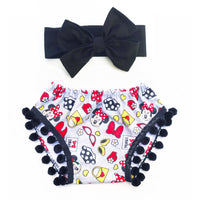 Flannel Minnie BLACK Pom Pom Shorties