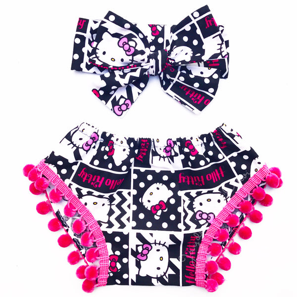 Black & Hot Pink Hello Kitty Pom Pom Shorties