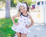 White Tossed Mickey Black Tiny Dot Bloomer Skirt