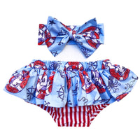 Baby Blue Sailor Mickey & Minnie Stripe Bloomer Skirt