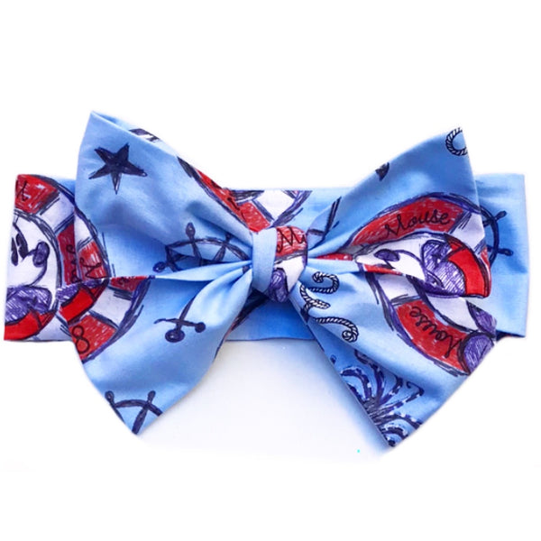 Baby Blue Sailor Mickey & Minnie Head Wrap
