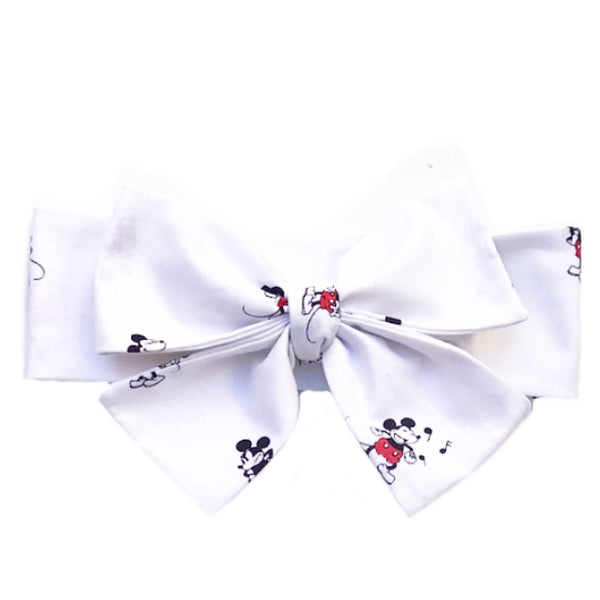 White Tossed Mickey Head Wrap