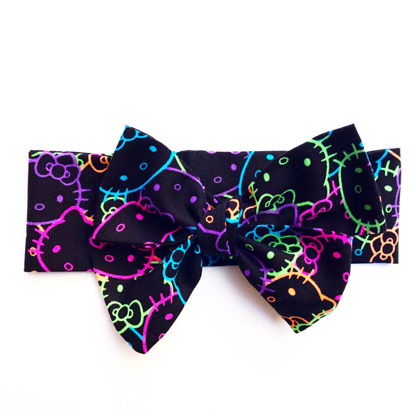 Black & Neon Hello Kitty Head Wrap