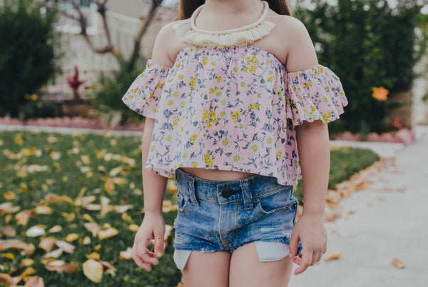 Baby Pink & Yellow Floral Flutter Sleeve Top