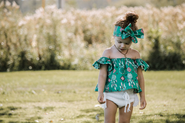 Teal DreamCatcher Flutter Sleeve Top