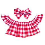 Lrg Red Gingham Flutter Sleeve Top