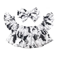 Black & White Marilyn Monroe Flutter Sleeve Top